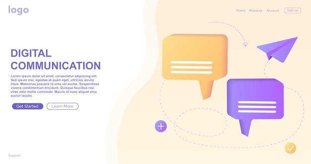 Komunikacja cyfrowa komunikator internetowy ilustracji wektorowych koncepcja mobilny smartfon i laptop
