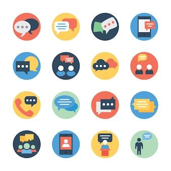 Komunikacja, czat i wiadomości płaskie zaokrąglone