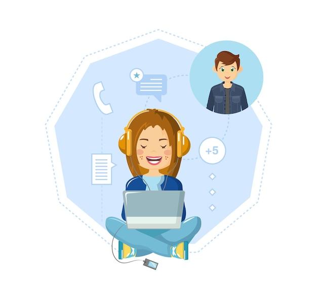 Komunikacja, dialogi na czacie, korespondencja online, sieci społecznościowe, wymiana informacji.