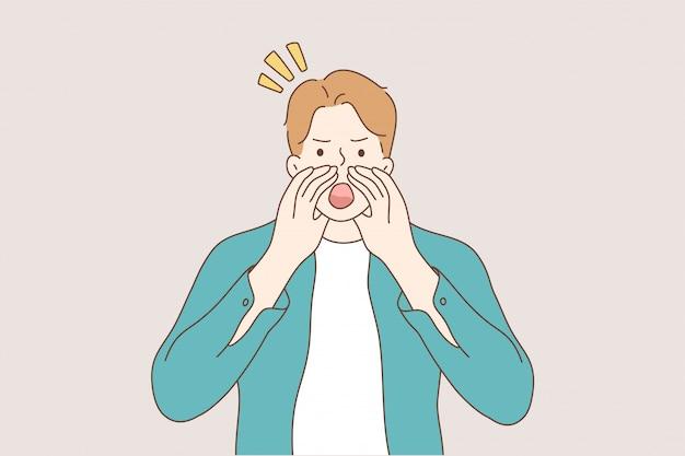 Komunikacja emocja wyrażenie twarzy reklama koncepcja promocji.