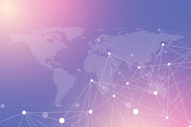 Komunikacja geometryczna tło graficzne z kropkami mapa świata. kompleks dużych zbiorów danych. związki cząstek. połączenie sieciowe, splot linii. minimalistyczny chaotyczny projekt, ilustracja.