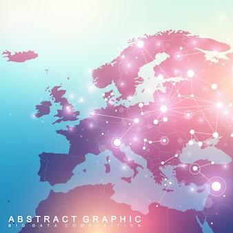 Komunikacja geometryczna tło graficzne z mapą europy. kompleks big data ze związkami. cyfrowa wizualizacja danych. naukowa ilustracja cybernetyczna.