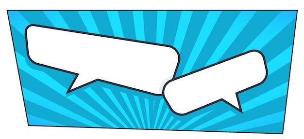 Komunikacja i rozmowa w stylu pop-artu. komiksy opróżniają dymki, dialogi lub wiadomości online. puste banery z pytaniem i odpowiedzią. wyrażanie myśli. wektor w stylu płaskiej