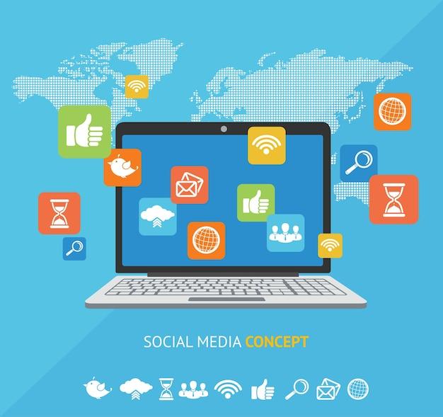 Komunikacja koncepcji mediów społecznościowych w globalnych sieciach komputerowych na całym świecie