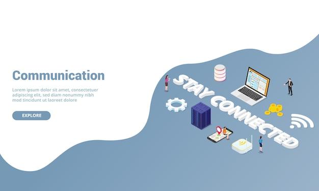 Komunikacja lub koncepcja podłączonego internetu dla szablonu strony internetowej lub strony docelowej w nowoczesnym stylu izometrycznym