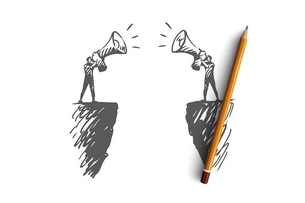 Komunikacja, ludzie, dwóch, rozmowa, koncepcja megafonu. ręcznie rysowane dwie osoby komunikują się ze szkicem koncepcyjnym megafonu.