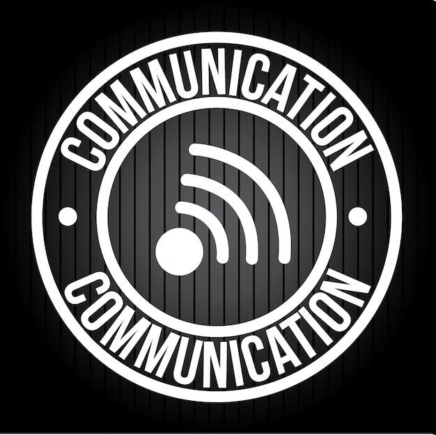 Komunikacja na czarnej ilustracji