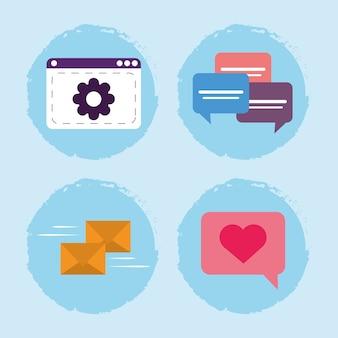 Komunikacja na stronie internetowej wiadomości sms i ikony dymków czatu
