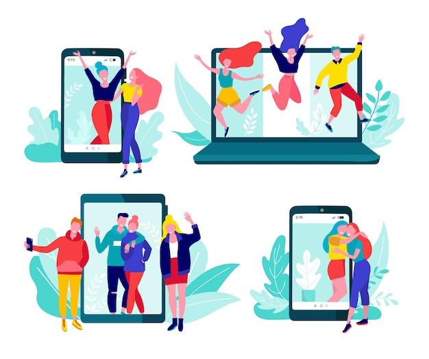 Komunikacja online przez internet, portale społecznościowe, czat, zestaw wiadomości wideo