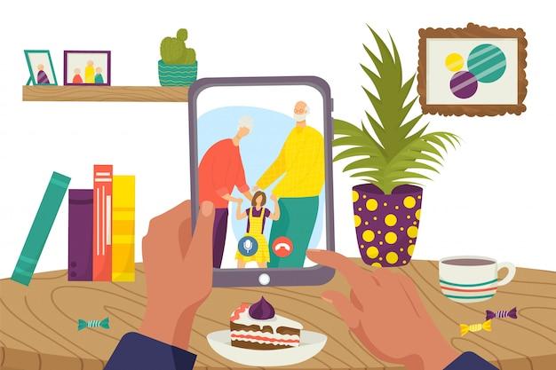 Komunikacja online w technologii internetowej, ilustracja rodzinnych rozmów wideo w internecie. czat konferencja w komputerze, połączenie kobieta mężczyzna na ekranie. szczęśliwa babcia, dziadek z dzieckiem.