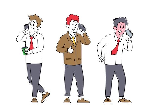 Komunikacja przez telefon komórkowy. mężczyźni rozmawiają przez telefon
