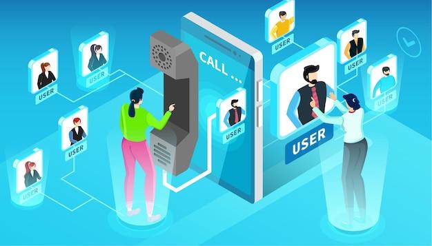 Komunikacja w sieci społecznej ilustracja izometryczny koncepcja ludzie awatary użytkowników i dymki