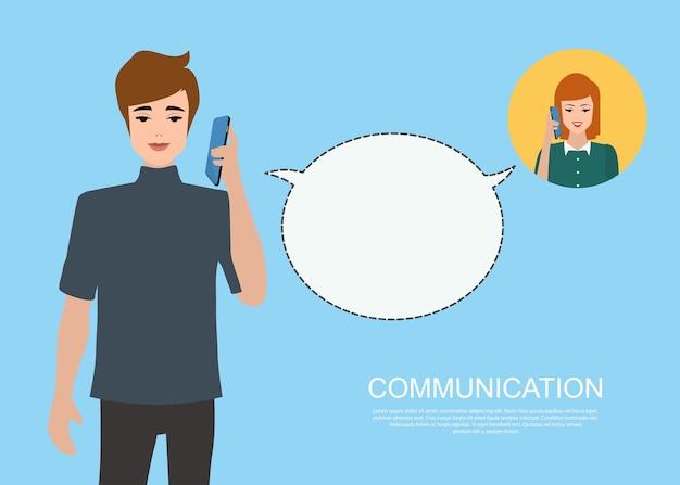 Komunikacyjni infographic ludzie opowiada telefonu tło