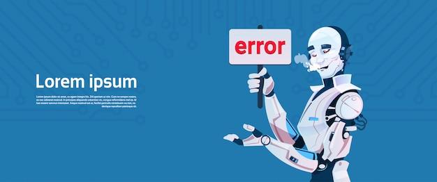 Komunikat błędu nowoczesnego robota, futurystyczny mechanizm sztucznej inteligencji