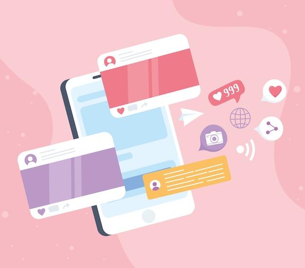 Komunikat na czacie na smartfonie, udostępnianie kamery przez sms, system komunikacji w sieci społecznościowej i technologie