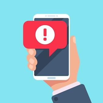 Komunikat ostrzegawczy na ekranie smartfona. problem dotyczący wirusów lub koncepcja powiadomień spamowych
