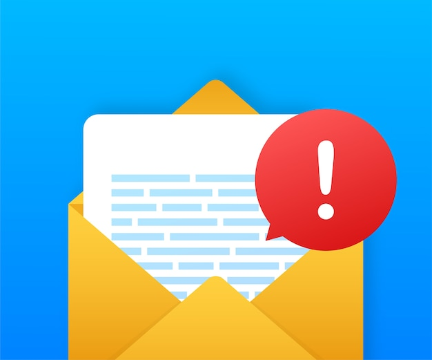 Komunikat ostrzegawczy - powiadomienie na laptopie. ostrzeżenia o niebezpieczeństwie, problemach z wirusami laptopów lub niezabezpieczonych wiadomościach o problemach ze spamem