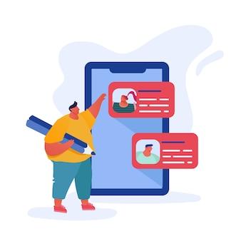 Komunikowanie się człowieka z wielkim ołówkiem za pomocą usług internetowych smartfona do czatowania i wysyłania sms-ów w mediach społecznościowych ze znajomymi.