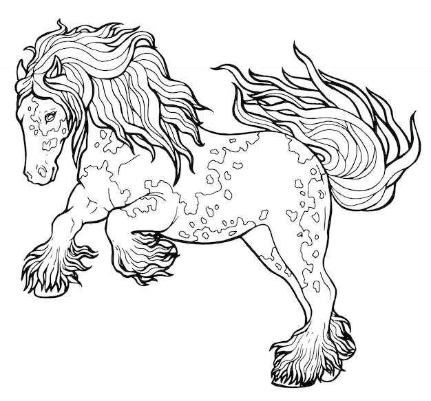 Koń biegnie kłus. kolorowanka. koń biegnie kłus. kolorowanka. tinker to koń pełnej krwi.