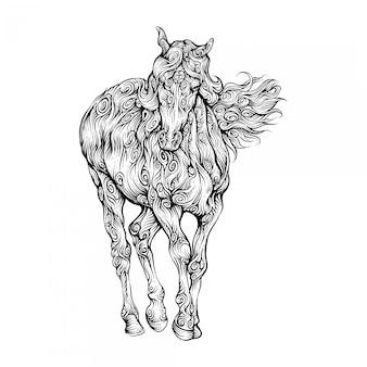 Koń idzie naprzód w stylu rysowania kręconych dłoni