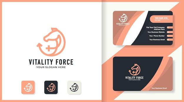 Koń łączy projekt logo płci i wizytówkę
