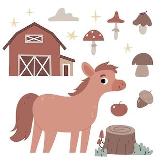 Koń na farmierolnictwojesienna atmosferailustracja do książki dla dzieci