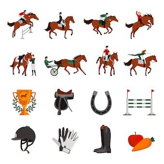 Koń, rosnące sportowe płaskie ikony kolor z jeźdźca na jockey konny w przewozie podkowy ogrodzenia nagrody