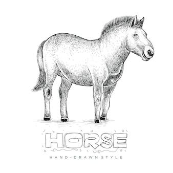 Koń stojący, ręcznie rysowane ilustracja zwierząt