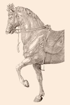 Koń z siodłem i uprzężą w stylu vintage