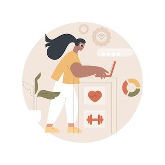 Koncentrująca się na zdrowiu ilustracja biurek iot