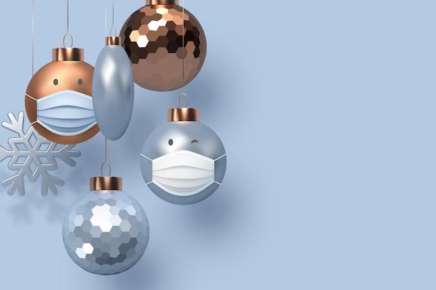 Koncepcja 3d świątecznego koronawirusa