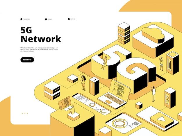 Koncepcja 5g. technologia nadawania wifi 5g, szybki internet w smartfonie. izometryczna wektorowa strona docelowa globalnego hotspotu sieci
