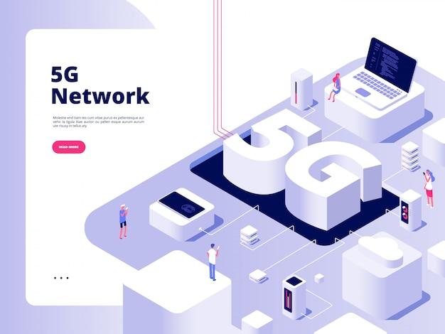 Koncepcja 5g. wifi telekomunikacja technologia 5g prędkość szerokopasmowego internetu piąty hotspotów wifi globalna sieć