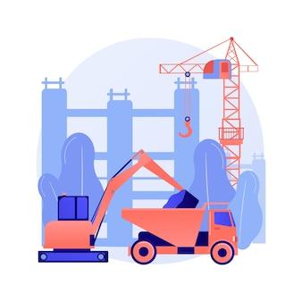 Koncepcja abstrakcyjna nowoczesnych maszyn budowlanych