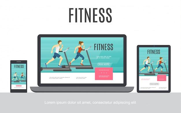 Koncepcja adaptacyjnego projektowania płaskiego fitness z mężczyzną i kobietą na bieżni na ekranach przenośnych tabletów laptopa na białym tle