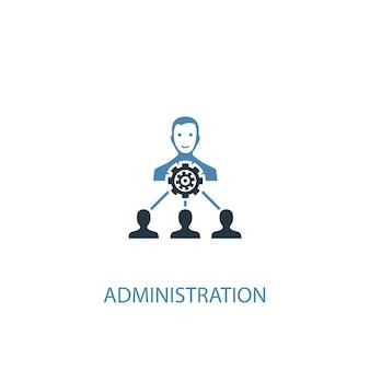 Koncepcja administracji 2 kolorowa ikona. prosta ilustracja niebieski element. projekt symbolu koncepcji administracji. może być używany do internetowego i mobilnego interfejsu użytkownika/ux