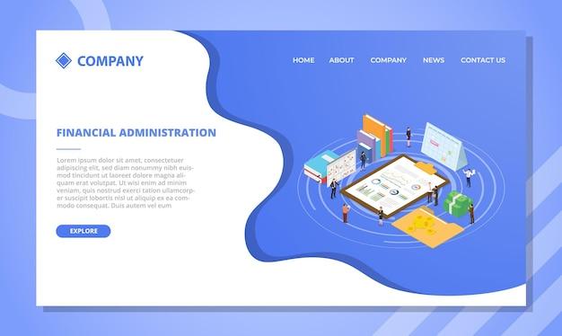 Koncepcja administracji finansowej dla szablonu strony internetowej lub projektu strony głównej lądowania z ilustracją izometryczną w stylu wektorowym