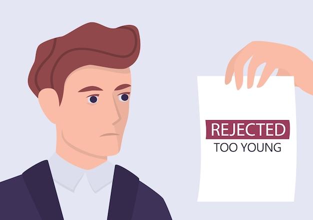 Koncepcja ageizmu rekrutacji. specjalista hr odrzuca młodego mężczyznę cv. niesprawiedliwość i problem zatrudnienia młodych dorosłych. dział kadr nie zatrudnia osób w wieku 20 lat.