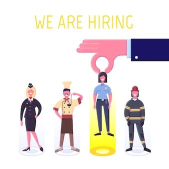 Koncepcja agencji pracy płaska. zatrudnienie i koncepcja rekrutacji na stronę internetową, baner, prezentację.