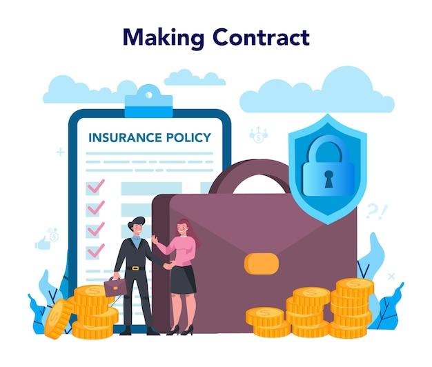 Koncepcja agenta ubezpieczeniowego. idea bezpieczeństwa i ochrony mienia