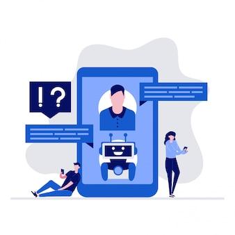 Koncepcja ai chatbot support i faq z postaciami. klienci rozmawiają z botem na smartfonie, zadają pytania i otrzymują odpowiedzi.