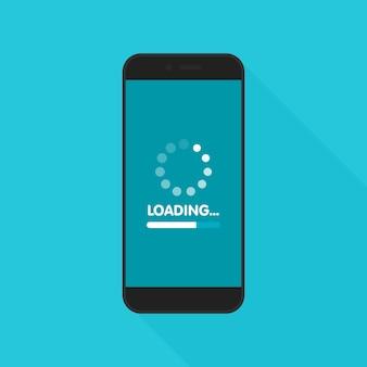 Koncepcja aktualizacji i aktualizacji oprogramowania systemowego. proces ładowania na ekranie smartfona. ilustracja.