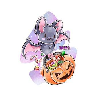 Koncepcja akwarela nietoperza halloween