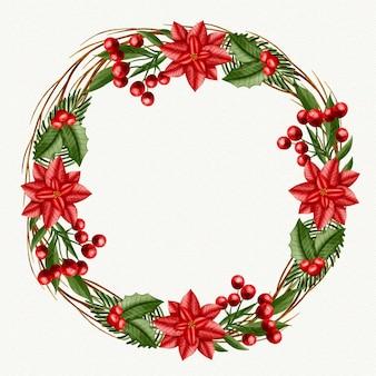 Koncepcja akwarela wieniec bożonarodzeniowy