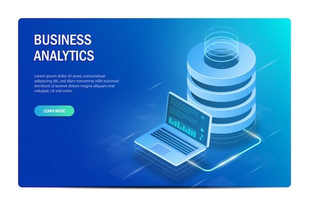 Koncepcja analityki biznesowej. chmura obliczeniowa. duże centrum danych. wymiana danych między laptopem a serwerem