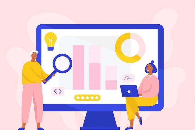 Koncepcja analizy biznesowej, badania rynku, testowania produktu, analizy danych. dwóch specjalistów od marketingu zajmujących się analizą. płaska ilustracja.