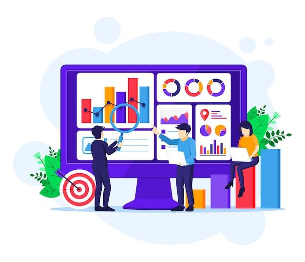 Koncepcja analizy biznesowej, ludzie pracują przed dużym ekranem. audyt, ilustracja doradztwa finansowego