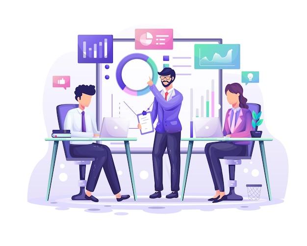 Koncepcja analizy biznesowej uczestnicy spotkania pracują z wykresami i graficzną ilustracją wizualizacji danych