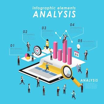 Koncepcja analizy biznesowej z tabletem i rosnącym wykresem w 3d izometrycznym stylu płaskim