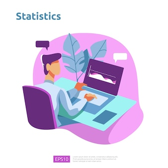 Koncepcja analizy cyfrowej do badań rynku biznesowego, strategii marketingowej, audytu i finansów. wizualizacja danych z postacią, wykresami i statystykami dla landing page, banera, prezentacji